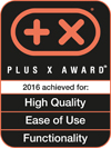 Distinguished with Plus X Award in the category HIGH QUALITY, EASE OF USE + FUNCTIONALITY